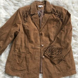 Never worn 1970's vintage leather fringe jacket